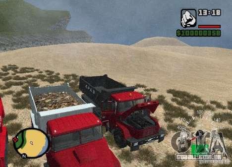 KrAZ 65055 caminhão para vista lateral GTA San Andreas
