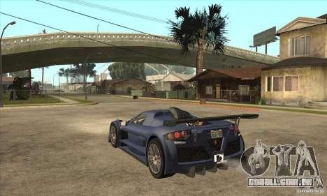 Gumpert Apollo Sport para GTA San Andreas traseira esquerda vista