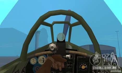 Yak-9, durante a II Guerra Mundial para GTA San Andreas vista traseira