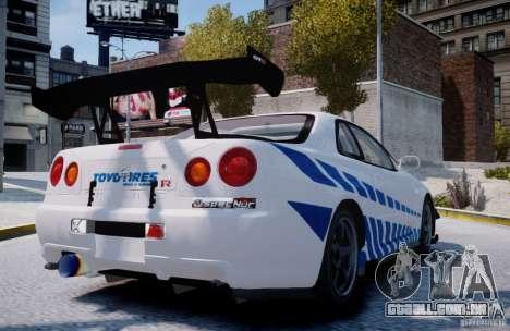 Nissan Skyline GT-R R34 2F2F para GTA 4 traseira esquerda vista