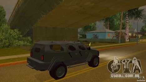 Gurkha LAPV para GTA San Andreas esquerda vista