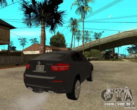 BMW X6 M para GTA San Andreas traseira esquerda vista