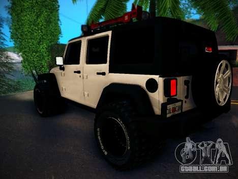 Jeep Wrangler 4x4 para GTA San Andreas traseira esquerda vista