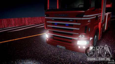 Scania Fire Ladder v1.1 Emerglights blue [ELS] para GTA 4 vista lateral