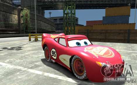 Lighting McQueen para GTA 4 vista de volta