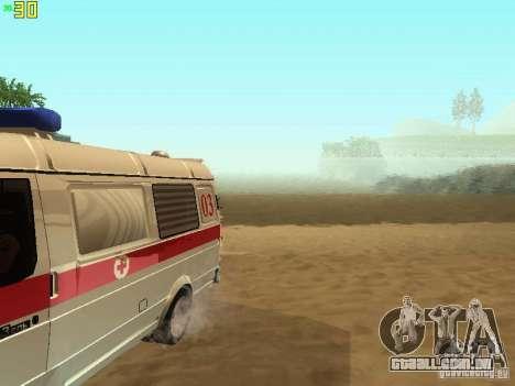 Ambulância de gazela 32214 para GTA San Andreas vista interior