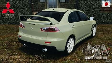 Mitsubishi Lancer Evolution X 2007 para GTA 4 traseira esquerda vista