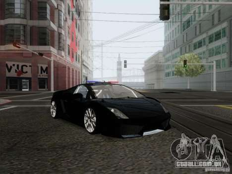 Lamborghini Gallardo LP-560 Police para GTA San Andreas traseira esquerda vista