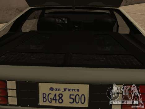 DeLorean DMC-12 para GTA San Andreas vista superior