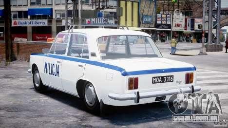 Fiat 125p Polski Milicja para GTA 4 traseira esquerda vista
