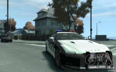 Nissan GT-R R35 Police para GTA 4 vista de volta