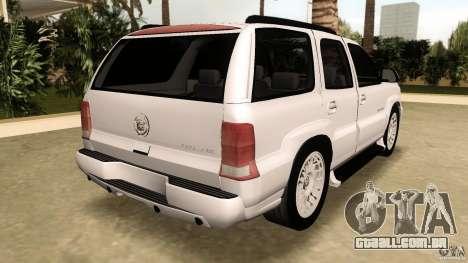 Cadillac Escalade para GTA Vice City vista traseira esquerda