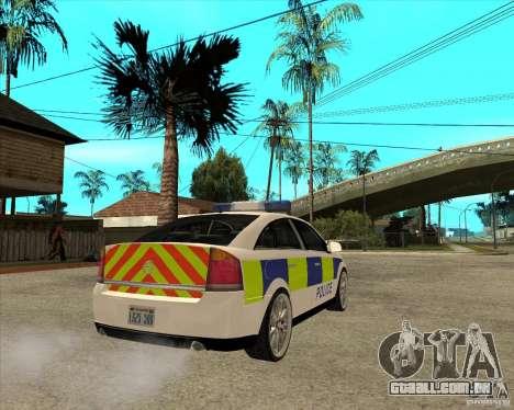 2005 Opel Vectra Police para GTA San Andreas traseira esquerda vista