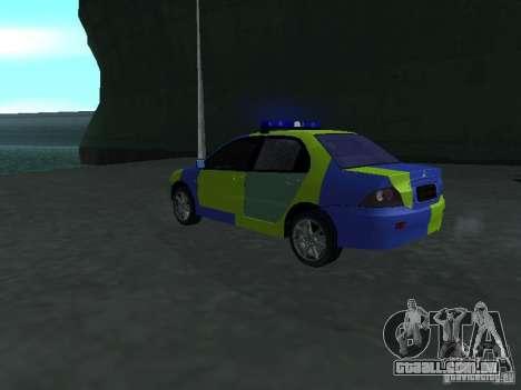 Polícia de Mitsubishi Lancer para GTA San Andreas esquerda vista