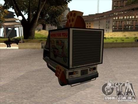 Sweeper Pizza Boy para GTA San Andreas traseira esquerda vista