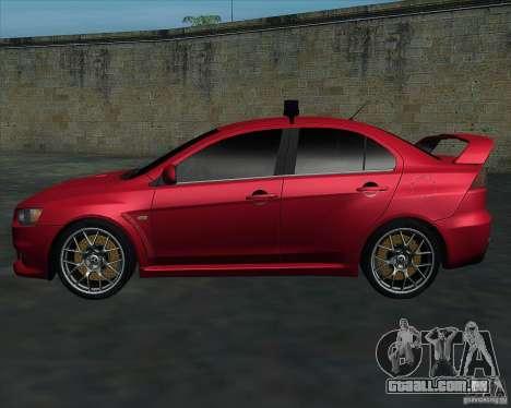 Mitsubishi Lancer Evolution X MR1 v2.0 para GTA San Andreas esquerda vista