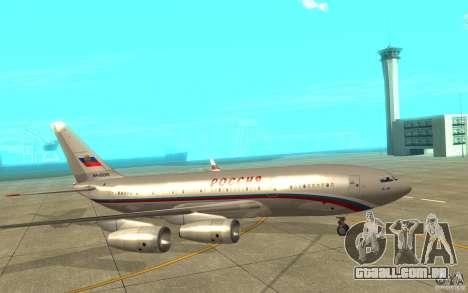 A IL-96 300 STC Rússia para GTA San Andreas traseira esquerda vista