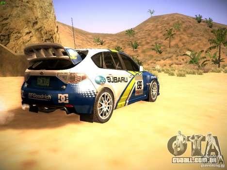 Subaru impreza Tarmac Rally para GTA San Andreas vista direita