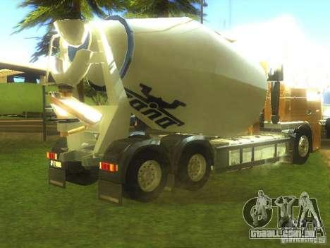 DAF XF ETS 2008 Betonamešalka para GTA San Andreas traseira esquerda vista
