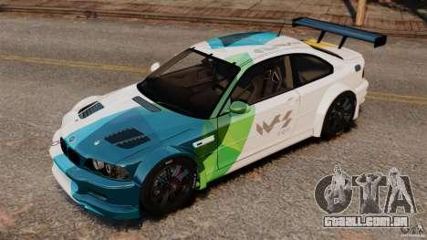 BMW M3 GTR MW 2012 para GTA 4 traseira esquerda vista