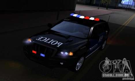 NFS Undercover Police SUV para GTA San Andreas vista traseira
