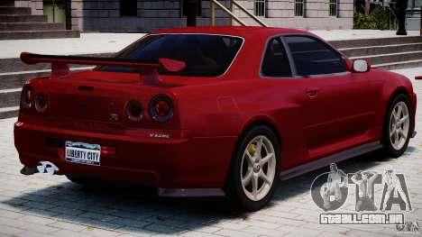 Nissan Skyline GT-R 34 V-Spec para GTA 4 interior