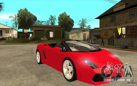 Lamborghini Gallardo LP560 Spider para GTA San Andreas vista traseira