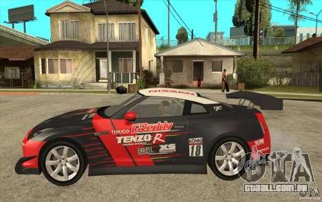 Nissan GT R Shift 2 Edition para GTA San Andreas traseira esquerda vista
