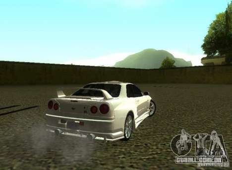 Nissan Skyline GTR-34 para GTA San Andreas vista superior