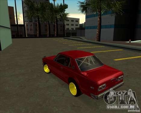 Nissan Skyline GTR 2000 para GTA San Andreas vista traseira