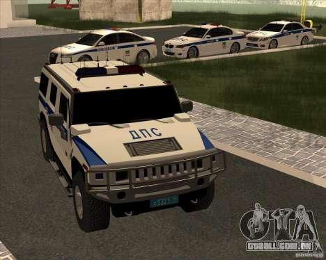 Hummer H2 DPS para GTA San Andreas vista interior