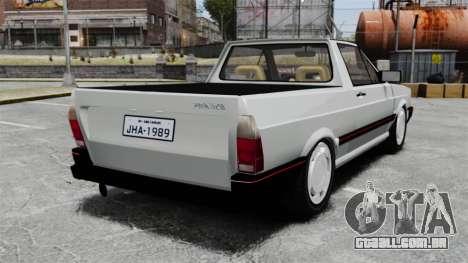 Volkswagen Saveiro 1990 Turbo para GTA 4 traseira esquerda vista