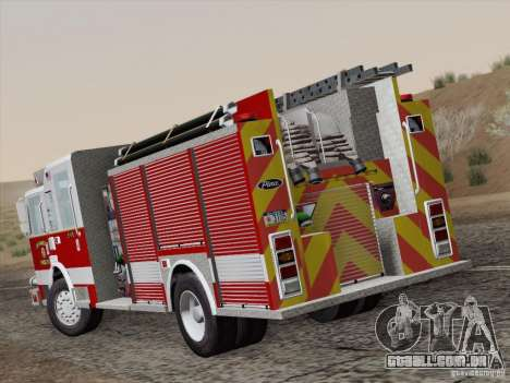 Pierce Pumpers. San Francisco Fire Departament para GTA San Andreas traseira esquerda vista
