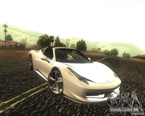 Ferrari 458 Italia Convertible para GTA San Andreas vista traseira