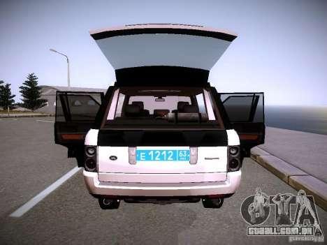 Range Rover Supercharged 2008 polícia departamen para GTA San Andreas interior