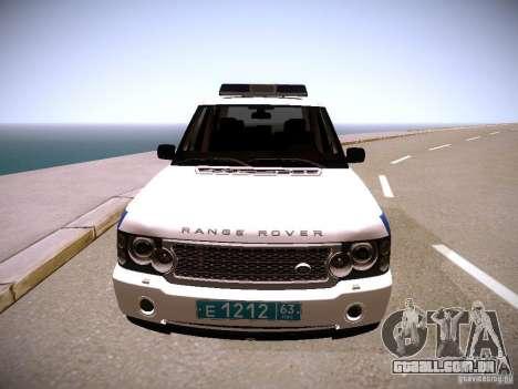 Range Rover Supercharged 2008 polícia departamen para GTA San Andreas vista traseira