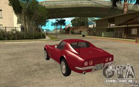 Chevrolet Corvette Stingray para GTA San Andreas traseira esquerda vista