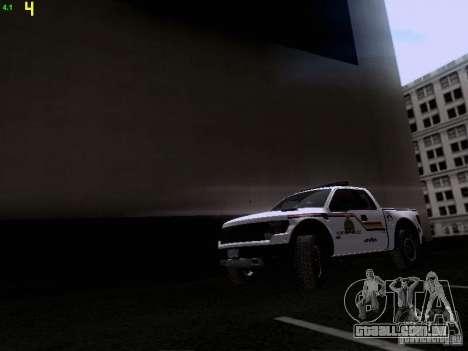 Ford Raptor Royal Canadian Mountain Police para GTA San Andreas esquerda vista