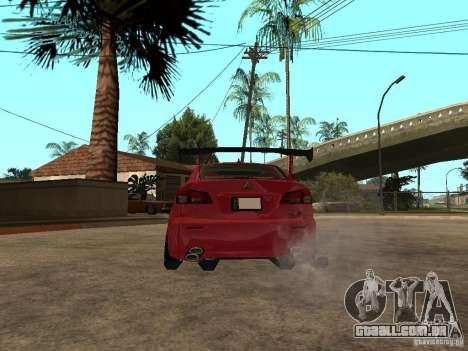 Lexus Drift Car para GTA San Andreas traseira esquerda vista