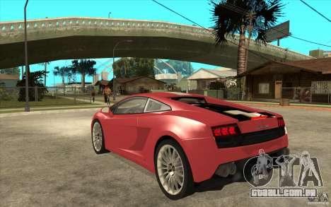 Lamborghini Gallardo LP550 Valentino Balboni para GTA San Andreas traseira esquerda vista