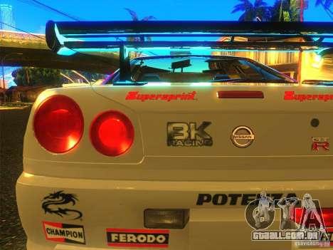 Nissan Skyline R34 Nismo para GTA San Andreas traseira esquerda vista