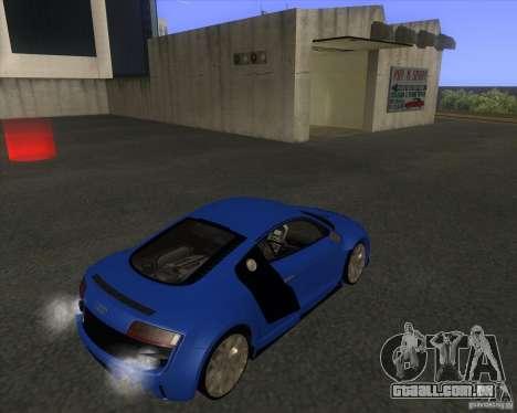Audi R8 5.2 FSI para GTA San Andreas traseira esquerda vista