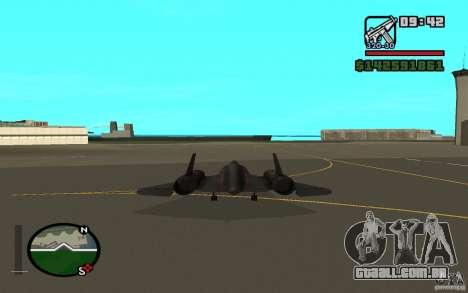 SR-71 Blackbird para GTA San Andreas traseira esquerda vista