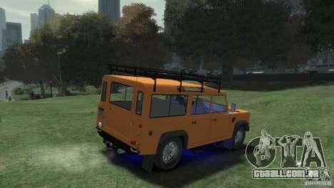 Land Rover Defender Station Wagon 110 para GTA 4 traseira esquerda vista