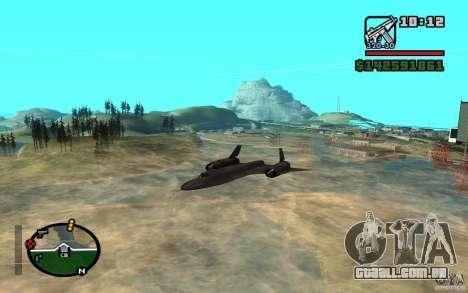 SR-71 Blackbird para GTA San Andreas esquerda vista