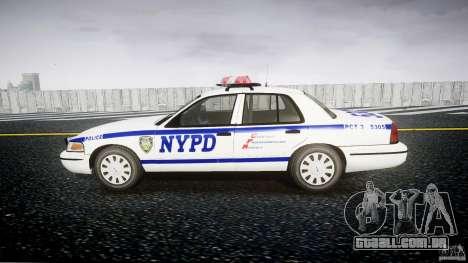 Ford Crown Victoria Police Department 2008 NYPD para GTA 4 vista de volta