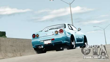 Nissan Skyline GT-R (R34) Stance para GTA 4 esquerda vista