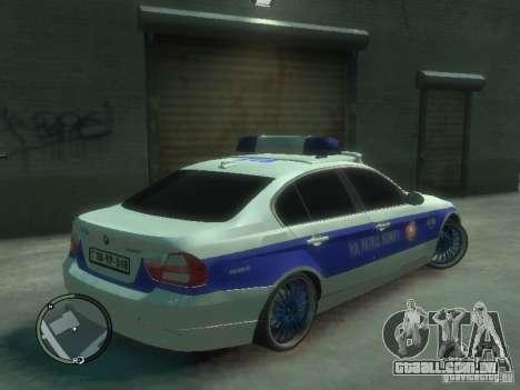 BMW 320i Police para GTA 4 vista direita