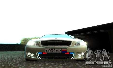 Mercedes-Benz S500 W221 Brabus para vista lateral GTA San Andreas