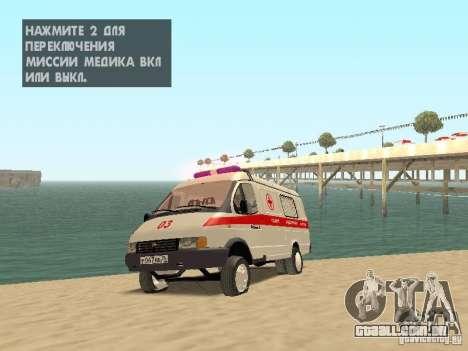 Ambulância de gazela 2705 para vista lateral GTA San Andreas